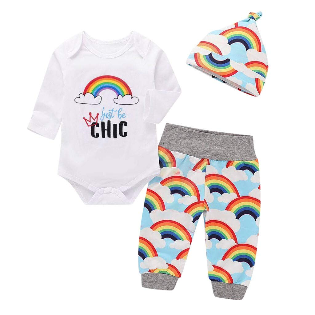 Jimmackey- Unisex 3pcs Pagliaccetto Completini Neonata Fumetto Arcobaleno Tuta Body Pantaloni Cappello Bambina Abiti Set