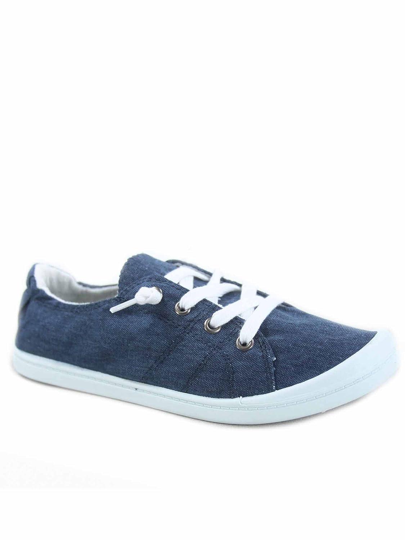 Soda Zig-s Women's Causal Flat Heel Slip On Lace up Look Sneaker Shoes B07DN4BGD4 8 B(M) US|Blue
