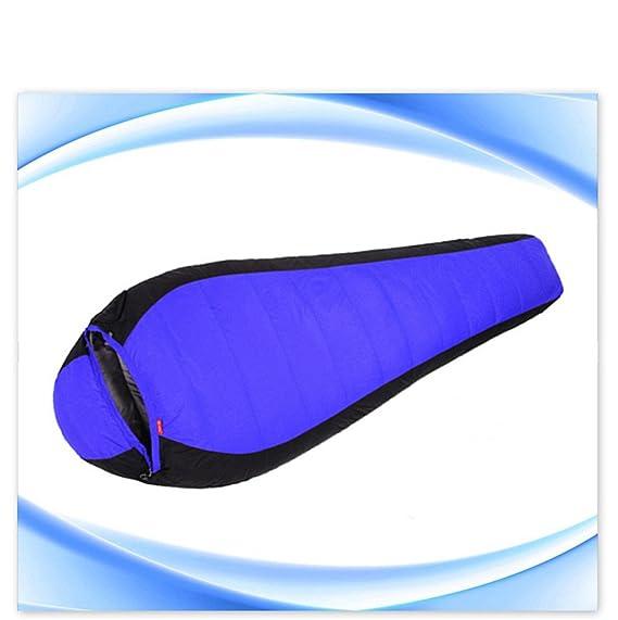 RFVBNM Al aire libre solo otoño / invierno costura pato saco de dormir momia ultraligero engrosamiento saco de dormir, azul: Amazon.es: Deportes y aire ...