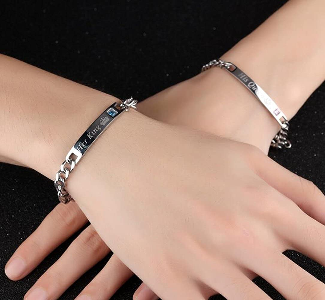 926928a9e3 Amazon.com: Mintik Men Her King Crown Bracelet Stainless Steel Couples  Valentine Christmas Curb Link Bracelet: Jewelry