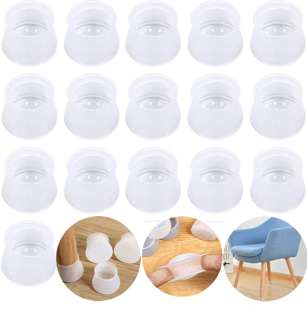 Furniture Silicon Protection Cover- for Round & Square Chair Leg Caps - Silicone Chair Leg Floor Protectors, Prevents Scratches and Noise Without Leaving Marks(16 Pcs Transparent)