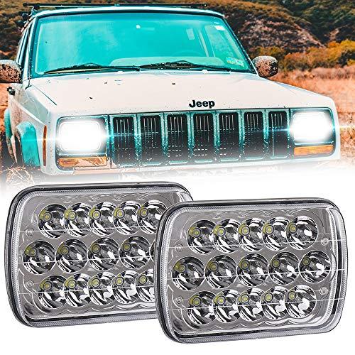 45w Rectangle 7x6 LED Headlights 5x7 Hi/Low Sealed Beam H4 PLUG H6054 H5054 6052 For Jeep Wrangler YJ Cherokee Xj Toyota pickup International Motorhome Truck (2 of Pack) ()