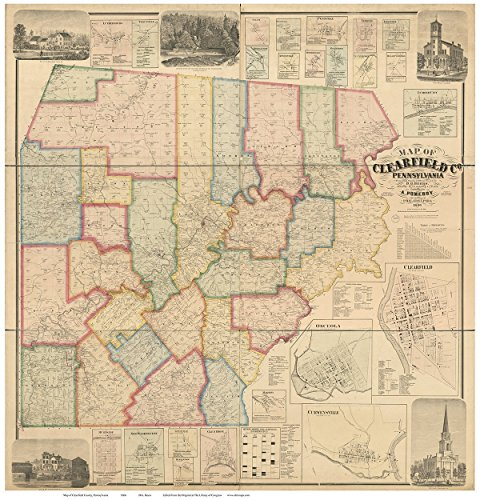 Clearfield County Pennsylvania 1866   Wall Map With Homeowner Names   Old Map Reprint