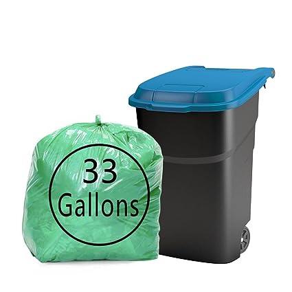kekow 33 galón grandes bolsas de basura, verde, 64 cuenta ...