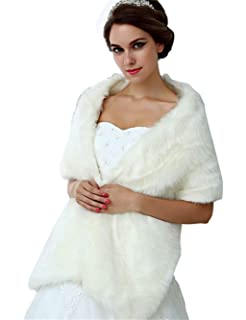 Belle House Womens Faux Fur Wrap Cold Weather Cape Winter Party Shawl For Gown