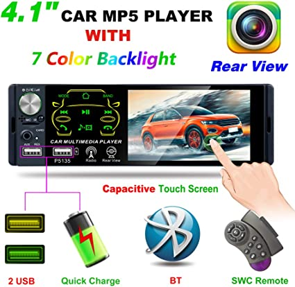 "4.1/"" Car HD 1-Din MP3 MP5 Player Bluetooth Stereo Handfree Steering Wheel Remote"
