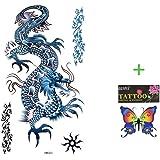 SPESTYLE impermeabile non tossico tatuaggio temporaneo stickersBlue drago tatuaggi temporanei fresco impermeabile e moda