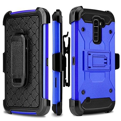 LG Stylo 2/Stylus 2/Stylo 2 V/Stylo 2 Plus/Stylus 2 Plus case, SOGA [Defender Series] [Shock/Impact Resistant] Tough Hybrid Holster Protective Case with Belt Clip for LG LS775 - Blue / Black