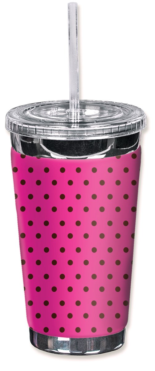 Mugzie 849-TGC'Pink Polka Dots' To Go Tumbler with Insulated Wetsuit Cover, 16 oz, Black