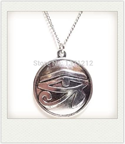 Eye of Horus charm necklace 24 in Chain silver pendant egyptian protection gift
