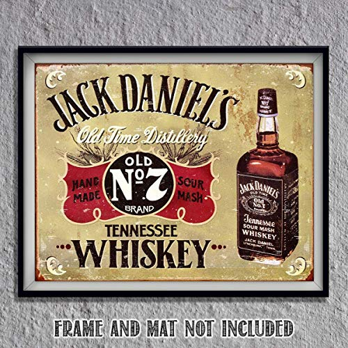 (Jack Daniels Old No. 7- Vintage Sign Wall Art- 8 x 10