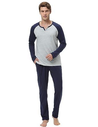 d72ed7a32f99 Hawiton Men's Pajama Pants Set 100% Cotton Long Sleeve Sleepwear Lounge Gray