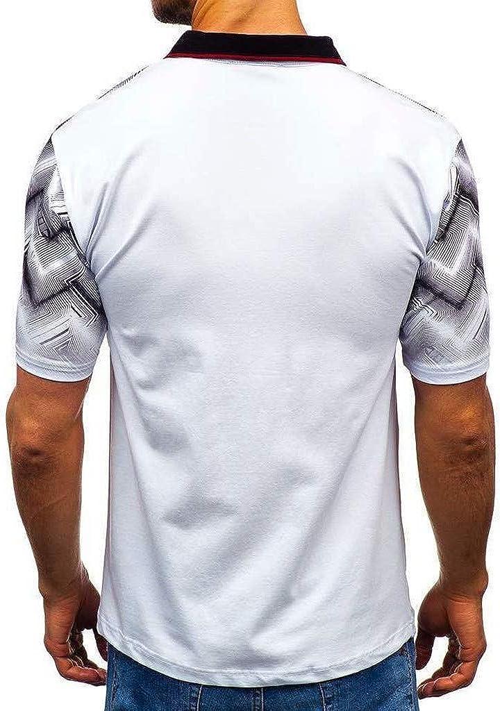 POQOQ Polo Shirt Men\'s Gradient Stripe Splicing Pattern Casual Fashion Lapel Short Sleeve