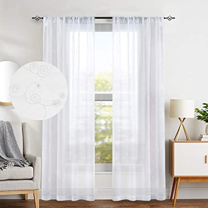 Amazon.com: White Sheer Curtains Floral Embroidered Semi Sheer ...