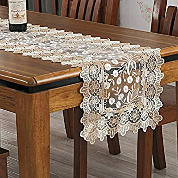 Incroyable Embroidered Floral Elegant Beige Lace Fall Table Runner Thanksgiving Table  Runners,16 By 72 Inch