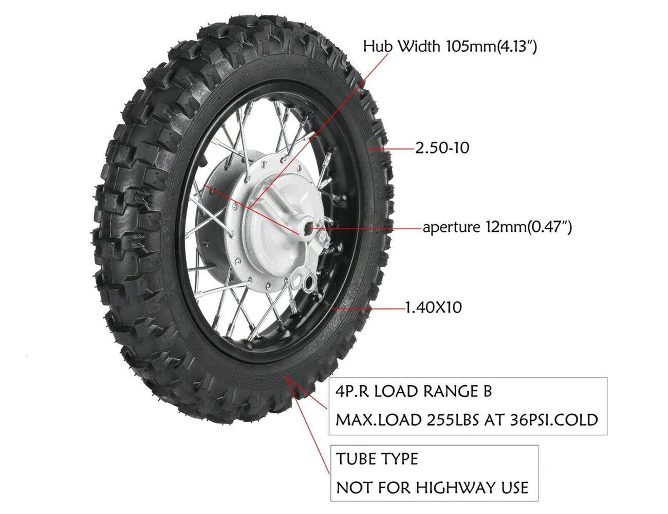 125cc Dirt Bike 12mm 1.4x10 Rear Rim Wheel 2.5-10 Tire 2.50-10 for Pitpro 50cc