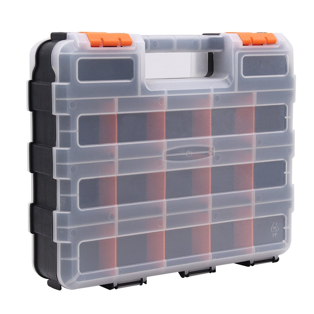 Small Parts Storage Organizer Tool Box Portable Heavy Duty Double Sided with 30 Removable and Adjustable Compartments for Hardware Arts Crafts Tools S322 (12.6''x10.6'')