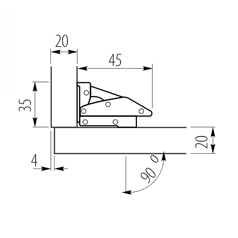 8 x SO-TECH/® Cerniere da Avvitare 77,4 x 32,8 mm Cerniera per Mobile Cerniera con Molla