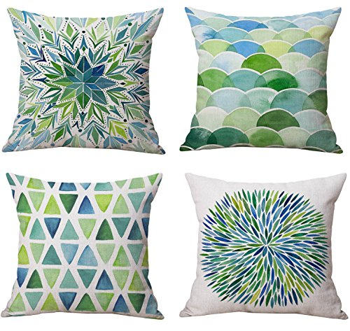 18x18 inches Decorative Floral Flower Pillow Covers Linen Cotton Sofa Cushion - Cushion Green Floral