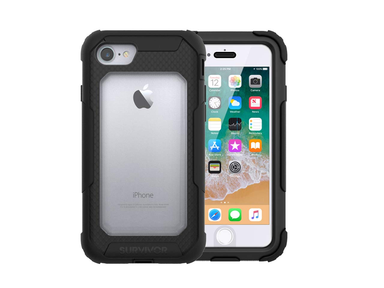 Griffin Survivor All-Terrain iPhone 8 Case with Belt Clip - Shock-Absorbing and Rugged Design, Black/Clear