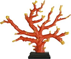 WELLAND 12-inch Resin Faux Branch Coral Sculpture, Coral Ornament, Red Tabletop Coral Decoration for Home, Office, Bar