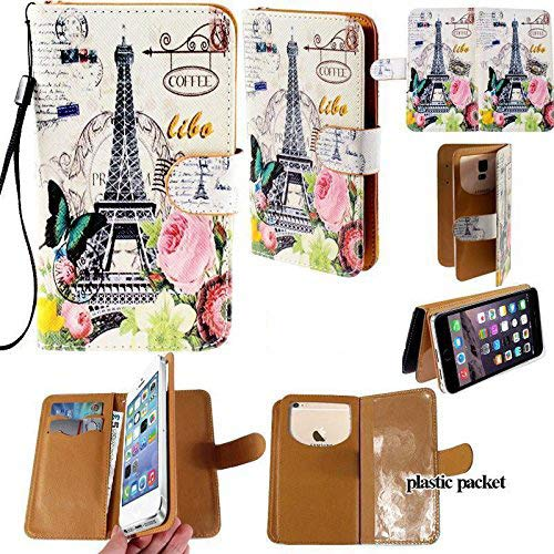 (Universal PU Leather Strap Case/Purse/Clutch Fits Apple Samsung LG etc. Paris Eiffel Tower Butterfly Rose -Small. Magic Sticker Attaches Phone to Wallet.Strong Adhesive/Easy Remove. Fits Models Below:)