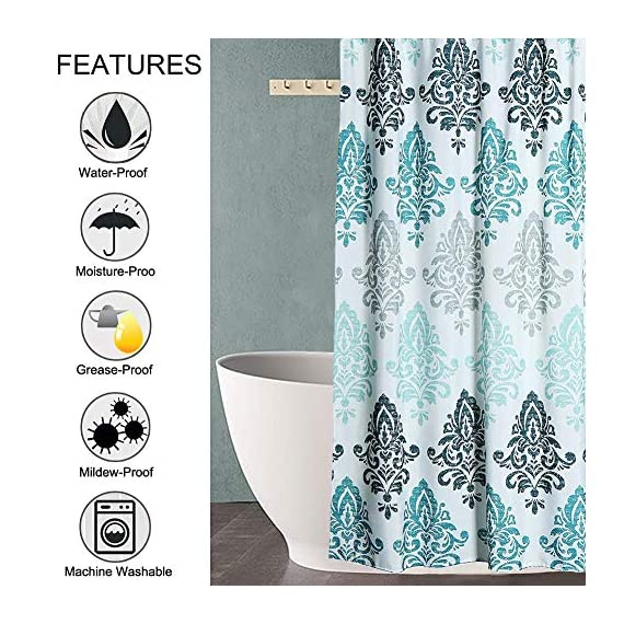 Yougai Shower Curtain for Bathroom with 12 Hooks, Polyester Fabric Machine Washable Waterproof Shower Curtains 72 x 72 Inch (Light Blue Damask) - Material of Bathroom Curtain: The shower curtain is made by 100% premium polyester fabric, which is made to withstand moisture-rich bathroom environments. with 12 plastic hooks, along with 12 metal grommets. Waterproof and Durable: Yougai grey shower curtain are extremely durable polyester fabric made, it prevents water splashing outside the bath area floor.Keep your home clean and fresh. Size: The shower curtain size of 72 x 72 inch will fit standard size shower / tub areas, No liner needed. - shower-curtains, bathroom-linens, bathroom - 616ePsCUraL. SS570  -