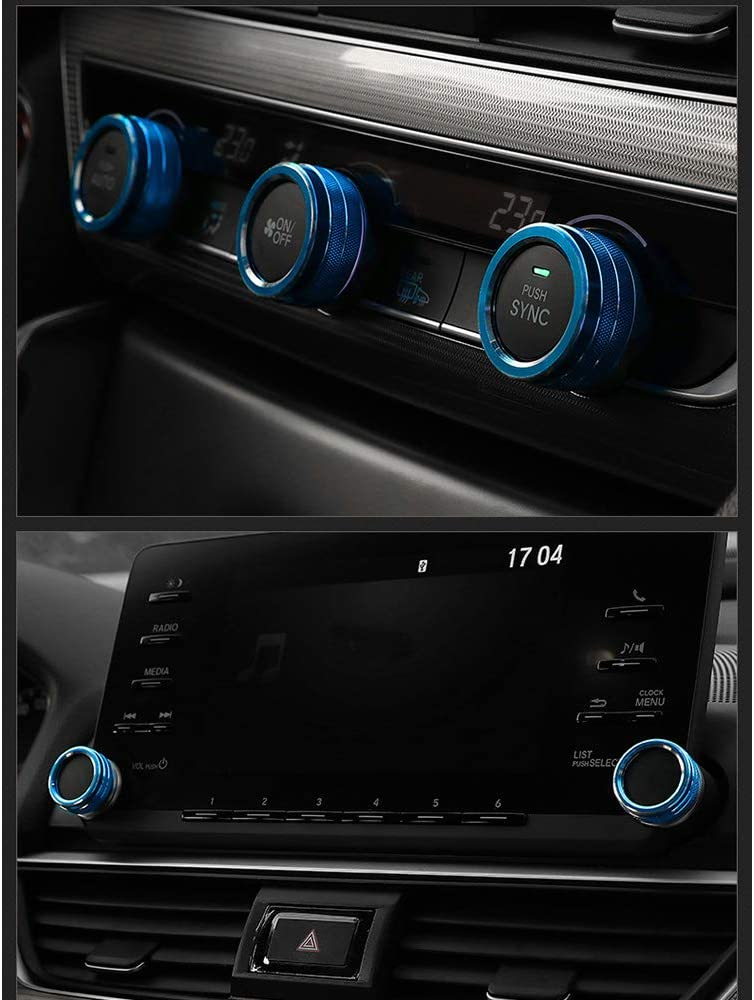 BLUE BOYUER 5PCS Aluminum Car Centre Console AC Air Conditioning Knob Sound Volume Knob Button Cover Trim For Honda Accord Sedan Touring Sport EX EX-L LX 10th 2018 2019 2020