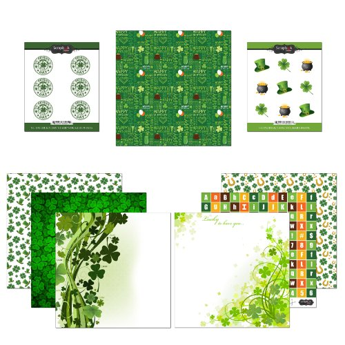 Scrapbook Customs Themed Paper and Stickers Scrapbook Kit, St. Patrick's Day