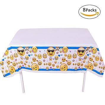 gwell Emoji Mantel Rectangular desechables Juego de toallas de mesa para niños fiesta de cumpleaños mesa