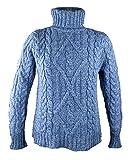 100% Irish Merino Wool Turtle Neck Aran Sweater by West End Knitwear, Wedgewood Blue, Extra Large