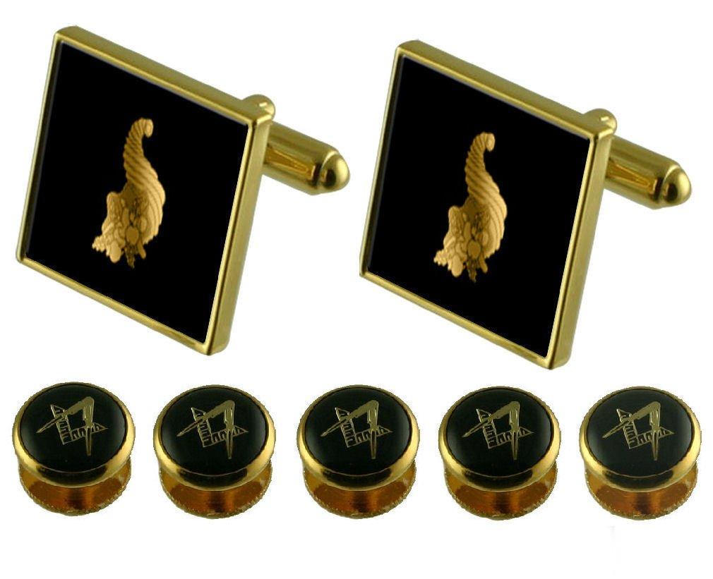 Select Gifts Stewards Gold Cufflinks Masonic 5 Shirt Dress Studs Box Set