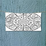 alsoeasy Camping Microfiber Towel with Signs Ecliptic Coordinate System Birth Chart of Solar Print Black White for Maximum Softness L27.5 x W11.8 inch
