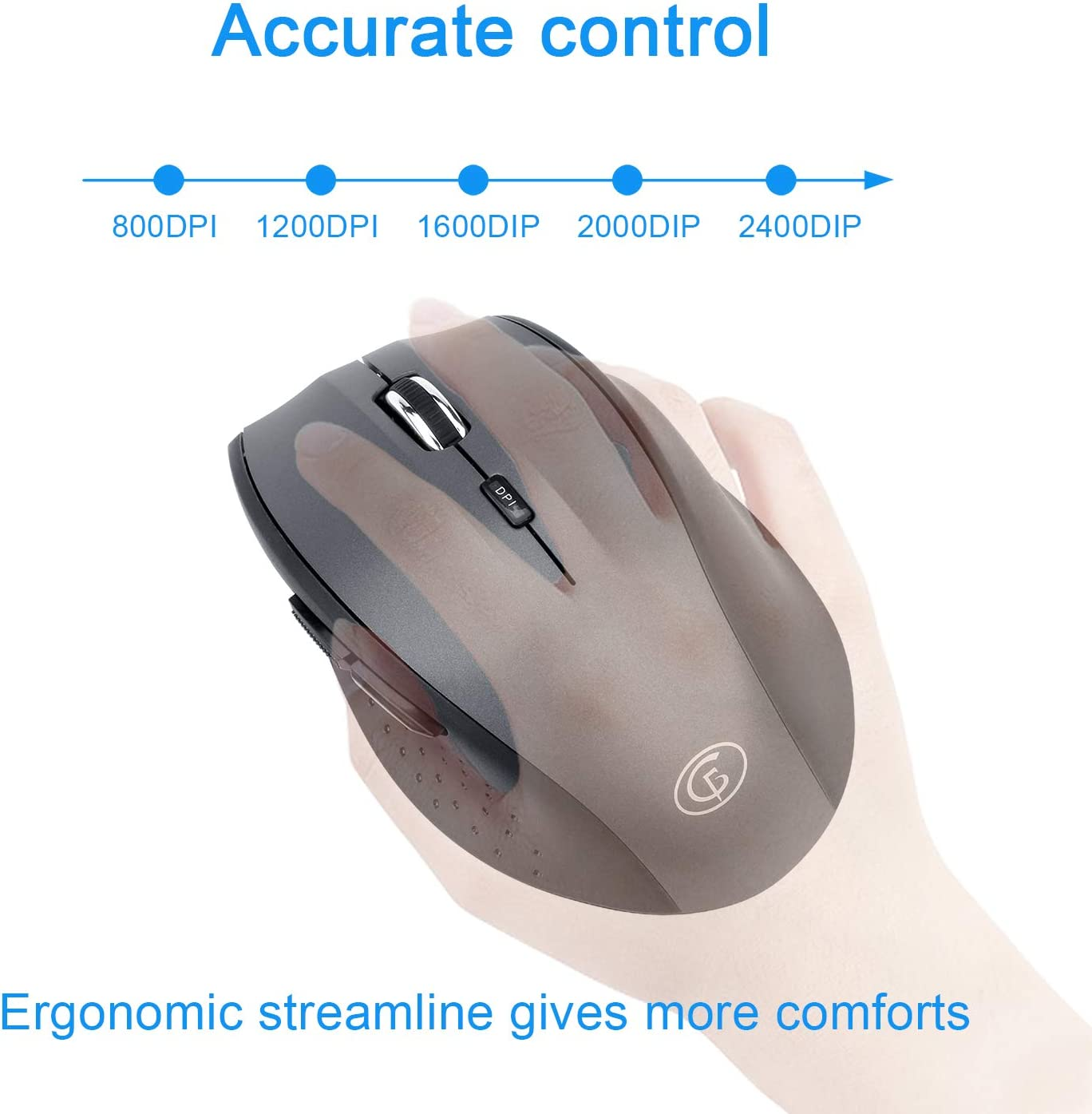 Gofreetech Wireless Keyboard and Mouse Combo with Wide Palm Rest ...