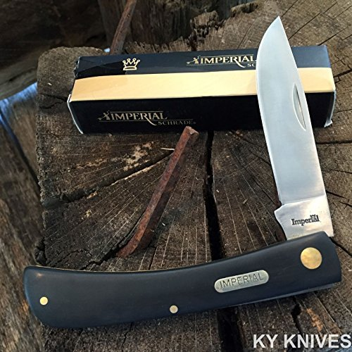 MOON KNIVES SCHRADE Black Imperial Large SOD BUSTER Straight Folding Pocket Knife