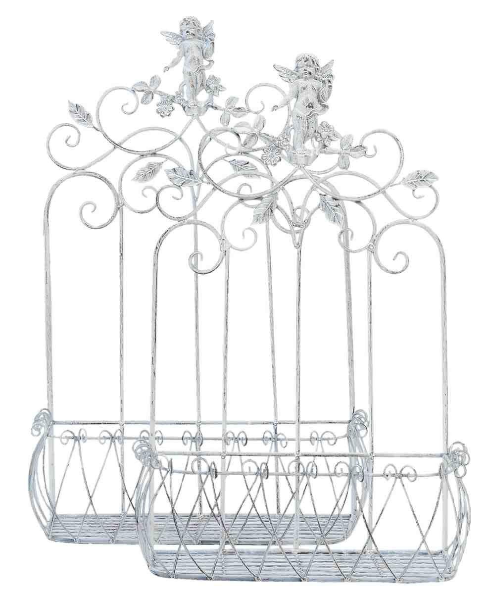 Clayre & Eef 5Y0257 Blumentopfhalter Pflanzenhalter 2er Set weiß ca. 57 x 25 x 82 cm / 49 x 22 x 72 cm