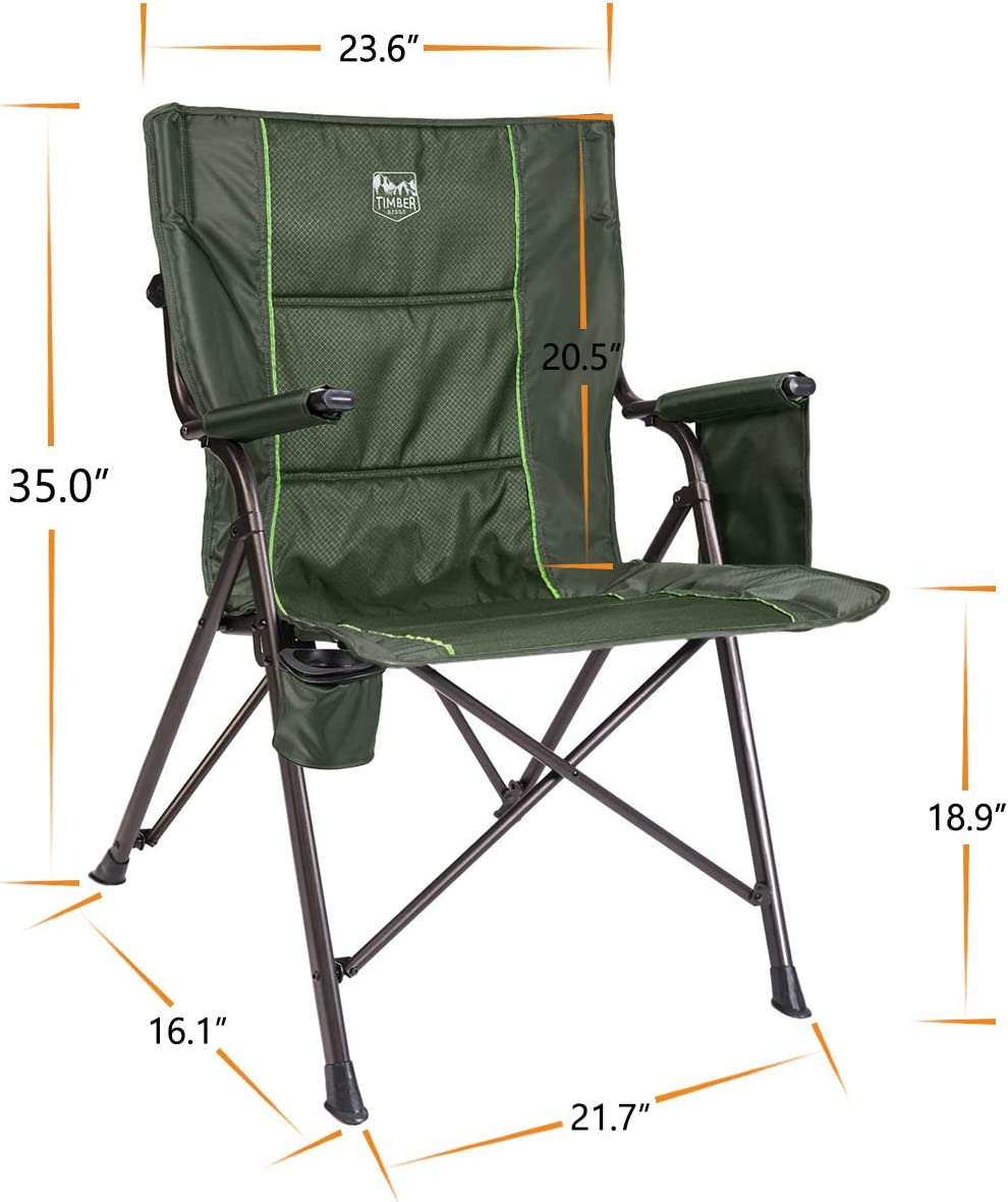 Timber Ridge Camping Folding Quad Chair Outdoor Sports Heavy Duty With Carry Bag
