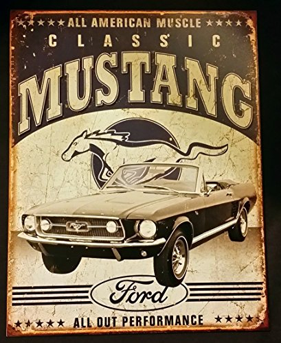 Classic Mustang Tin Sign 13 x 16in