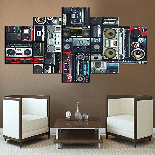 Rustic Home Decor for Living Room Retro Radio Boombox of the 80s Pictures Vintage Speaker Paintings 5 Panel Canvas Modern Artwork Giclee Framed Gallery-wrapped Stretched Ready To ()