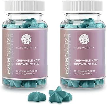 Hairworthy – Acción rápida crecimiento del cabello masticables Vitaminas. Suplemento Natural para el pelo largo con aceite de coco, Biotina y Ácido Fólico. (suministro para 2 meses): Amazon.es: Salud y cuidado personal