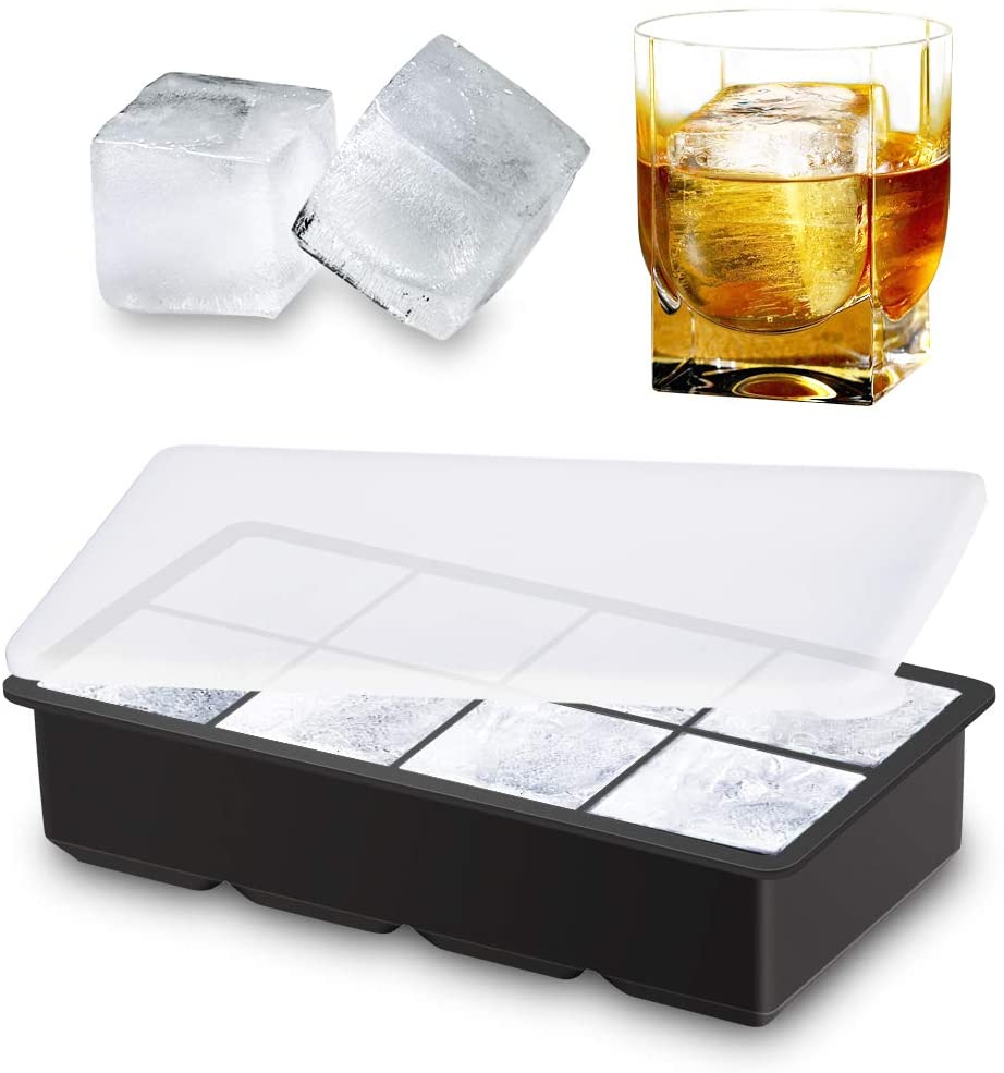 Ice Cube Trays Molds with Lid, 8 Cavity Large 1.9