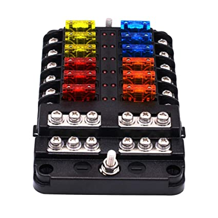 1 in 12 out way car fuse box power plug type fuse box seat with led