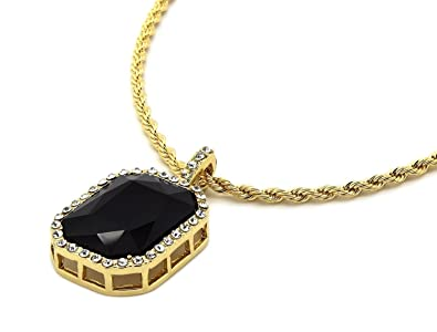Mens 14k gold plated iced out black octagon ruby pendant with 3mm 24 mens 14k gold plated iced out black octagon ruby pendant with 3mm 24quot rope chain aloadofball Gallery