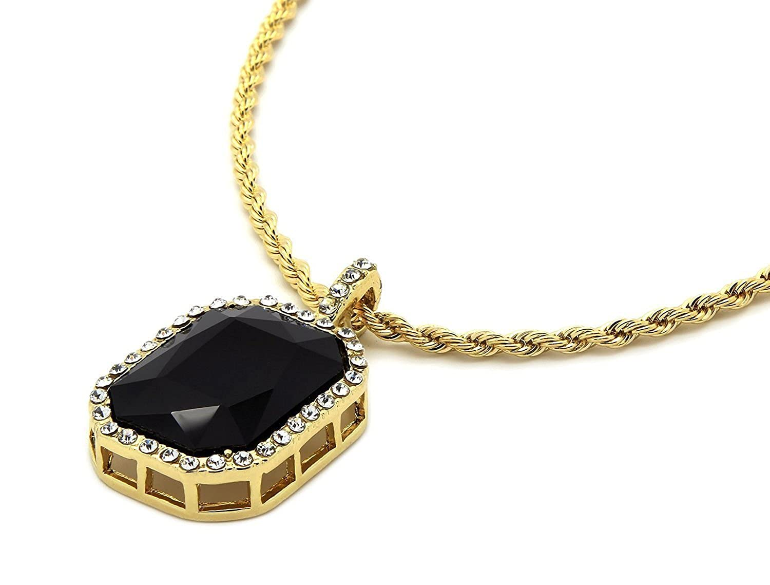 Mens 14k gold plated iced out black octagon ruby pendant with 3mm 24 mens 14k gold plated iced out black octagon ruby pendant with 3mm 24 rope chain necklace amazon mozeypictures Choice Image