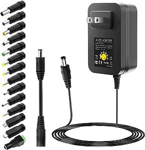 SHNITPWR 30W Universal Power Supply 3V 4.5V 5V 6V 7.5V 9V 12V Adjustable Variable AC/DC Adapter with 5V 2.1A USB Port, 100V-240V AC to DC 3V~12V Converter 0.5A 1A 1.2A 1.5A 2A 2.5A Max with 14 Tips