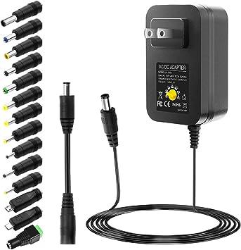 SHNITPWR AC Adapter 120W Universal Power Adapter 4V 5V 6V 9V 12V 15V 18V 19V 20V 24V Adjustable Switching Power Supply 100V~240V AC to DC 4V ~ 24V 5A Converter with 14 Tips /& Polarity Converter