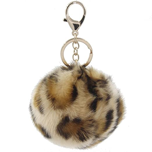 1PC Multicolor Faux Fur Pompom Ball Keychain Leather Ring Women Hand bag  Charm (Leopard 10cm 447f85537
