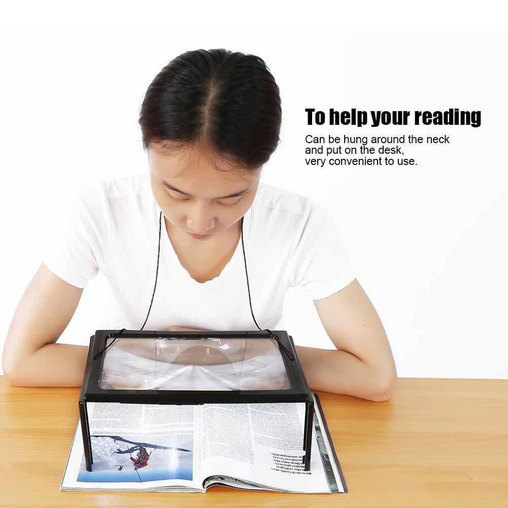 Personas Mayores o con Mala Visi/ón Lupa Rectangular para Leer Libros con Luz LED Lente de Aumento sin Distorsi/ón y para Peri/ódicos y Mapas