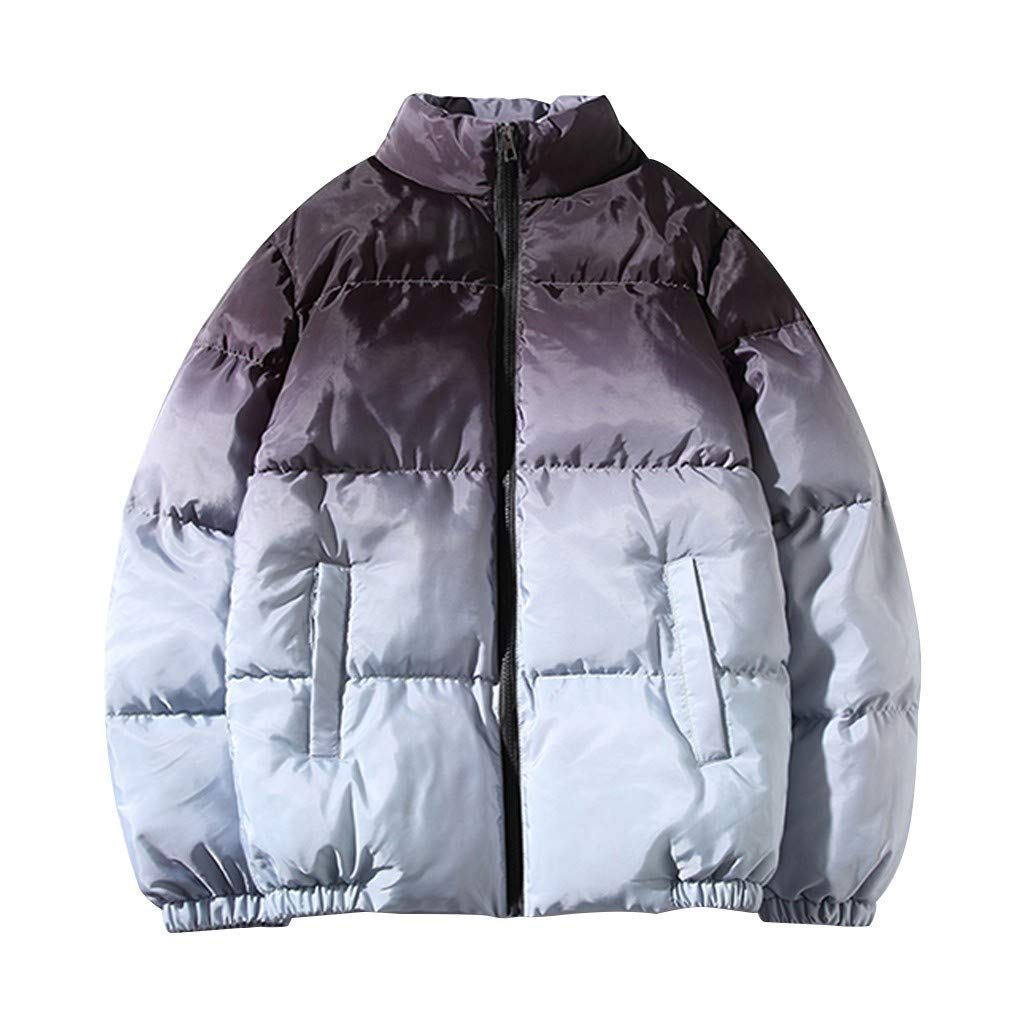 HebeTop Men's Cotton Jackets Tie Dyeing Thickened Warm Zipper Patchwork Winter Padded Coat with Pocket Gray by ▶HebeTop◄➟HOT SALES
