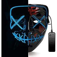 AUGOLA Halloween Led Máscaras, Purga Mascara Led Mask 3 Modos de Iluminacion para Halloween Navidad Cosplay Grimace Festival Fiesta (Azul)